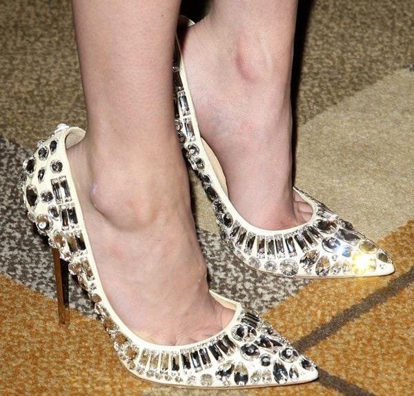 Emma Roberts wearing rhinestone-embellished Jimmy Choo 'Tia' pumps