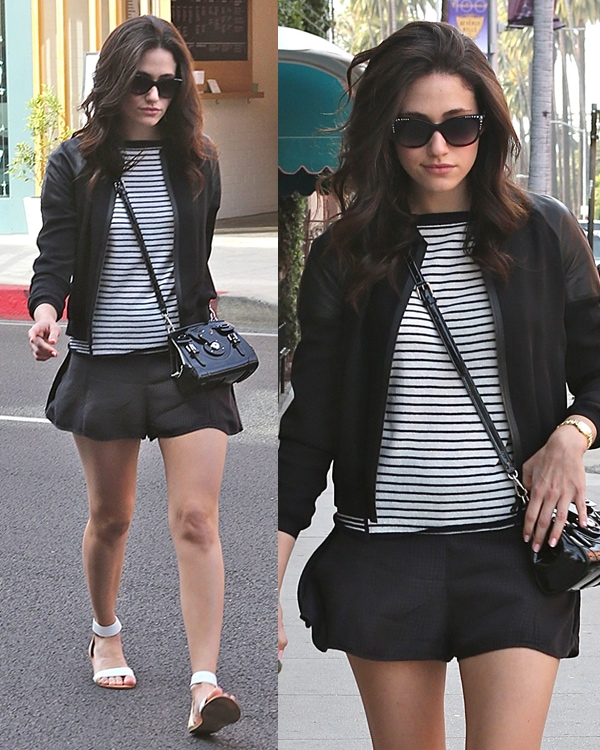 Emmy Rossum looks sexy wearing loose short shorts