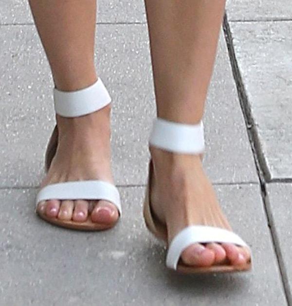 Emmy Rossum shows off her feet in Yosi Samra sandals