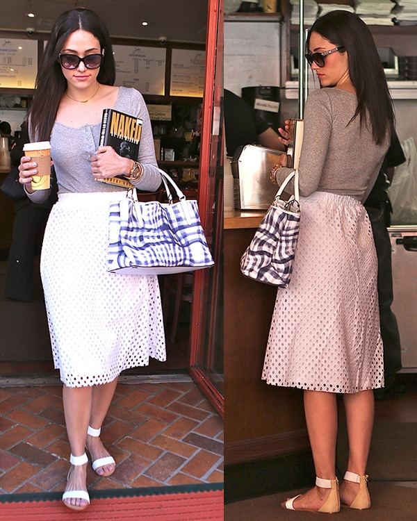 Emmy Rossum picking up a cup of coffee in Beverly Hills