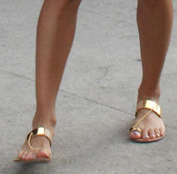 Eva Longoria shows off her feet in Casadei sandals