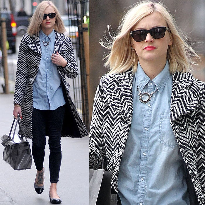 Fearne Cotton leaving the BBC Radio 1 studios in London, England, on January 23, 2012
