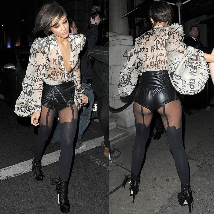 Frankie Sandford leaving The Saturdays' Christmas party held at the Aura nightclub in London, England, on December 13, 2009