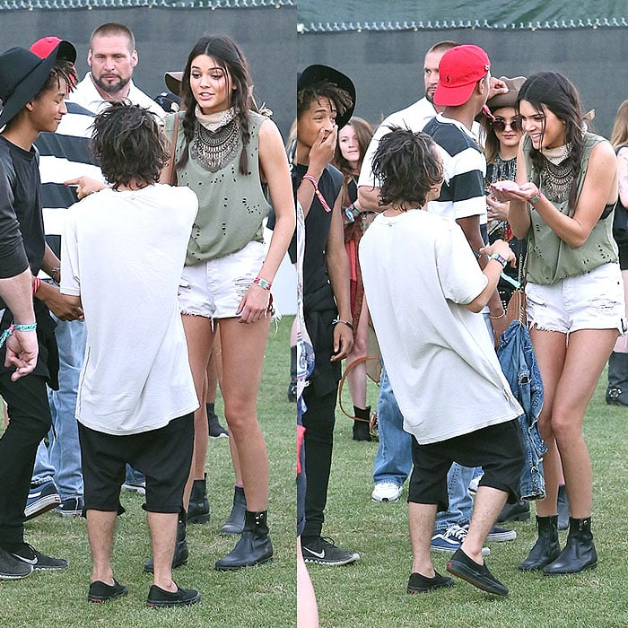 Jaden Smith, Moises Arias, Kylie Jenner, and Kendall Jenner celebrating Moises Arias' 20th birthday at Coachella in Indio, California, on April 18, 2014