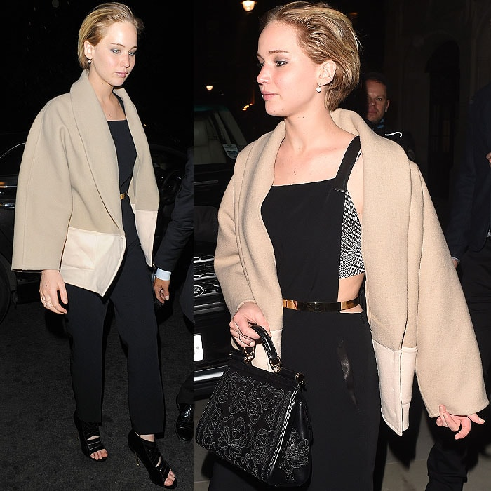 Jennifer Lawrence leaving the Chiltern Firehouse in London, England, on April 25, 2014