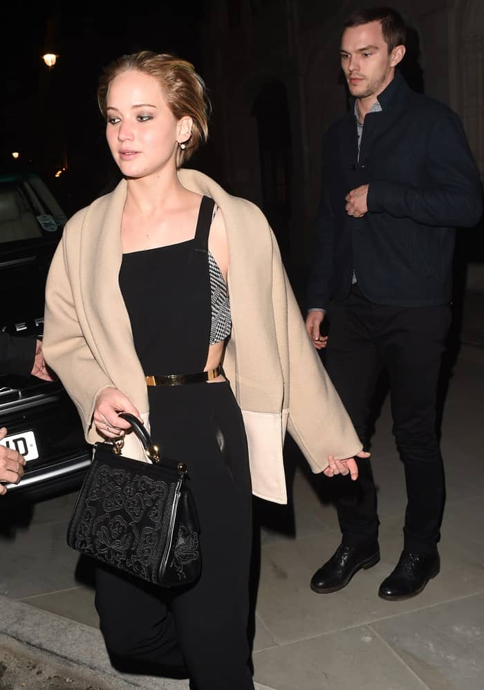 Jennifer Lawrence and her boyfriend Nicholas Holt are seen dinning out
