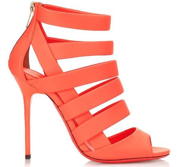 Jimmy Choo Damsen Neon Flame Sandals