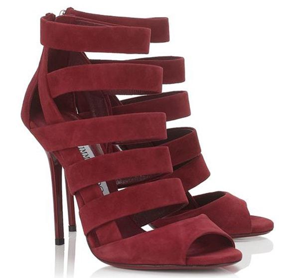 Jimmy Choo Damsen Ruby Suede Sandals