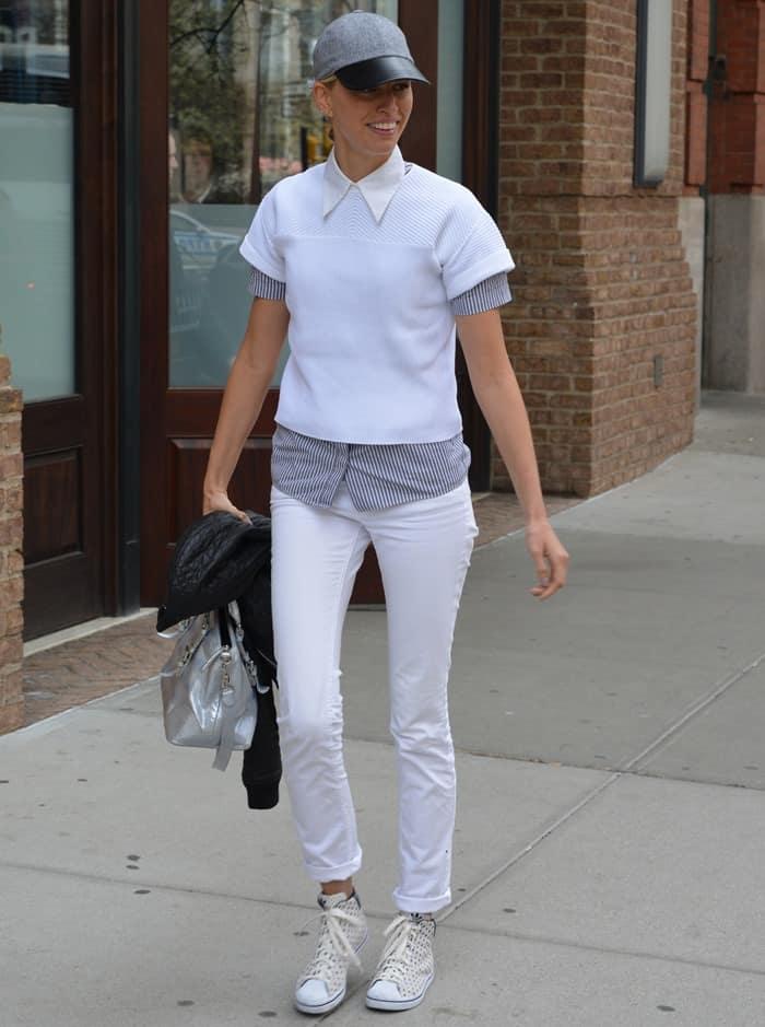 Karolina Kurkova rocking white polka-dotted sneakers from adidas