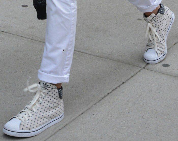 "Karolina Kurkova wearing adidas Originals ""Vulc Star"" sneakers"
