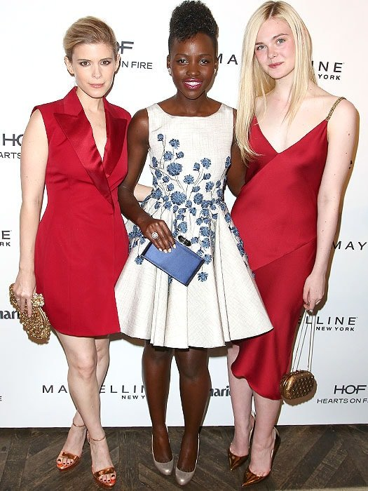 Kate Mara, Lupita Nyong'o, and Elle Fanning at Marie Claire's Fresh Faces Party held at Soho House in West Hollywood, California, on April 8, 2014