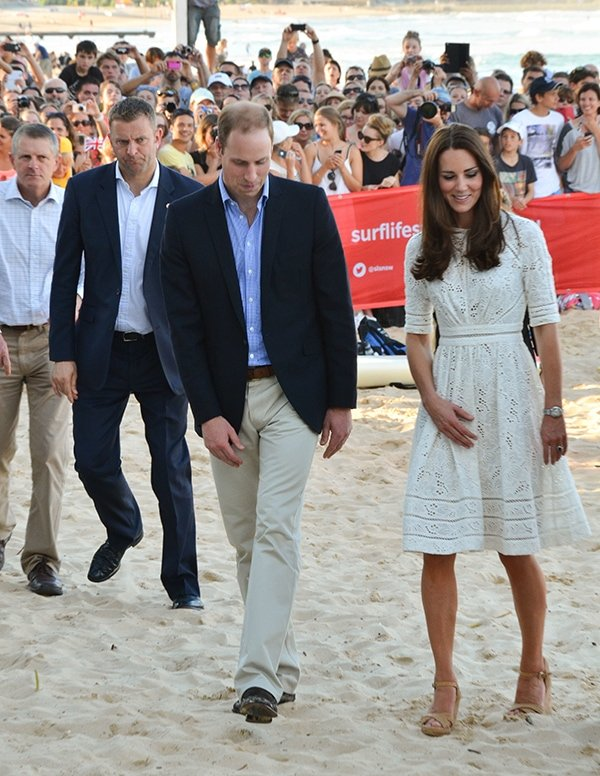 Catherine, Duchess of Cambridge, and Prince William, Duke of Cambridge, visiting Manly Beach on Sydney's north shore during their royal tour of Australia