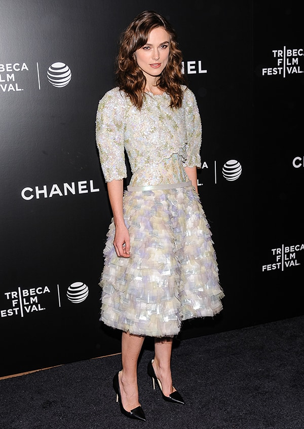 Keira Knightley at the 'Begin Again' premiere during the 2014 Tribeca Film Festival at BMCC Tribeca PAC in New York City on April 26, 2014