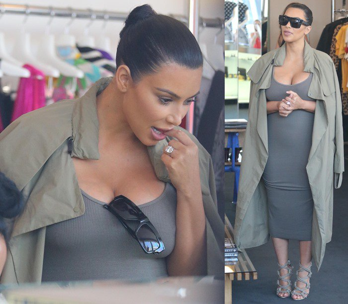Kim Kardashian shopping at Fred Segal and Resurrection boutiques in Los Angeles on July 16, 2015