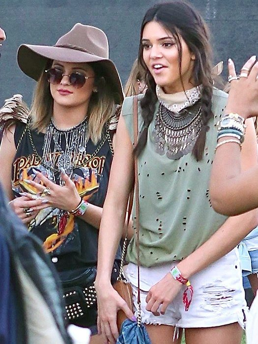 Kylie and Kendall Jenner at the first day of week 2 of the 2014 Coachella Music Festival held in Indio, California, on April 18, 2014
