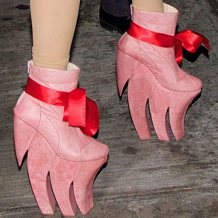 Lady Gaga pink jagged sole platform boots 1