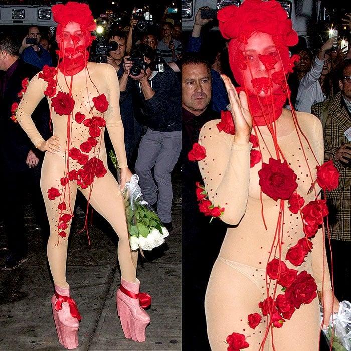 Lady Gaga rose bodysuit