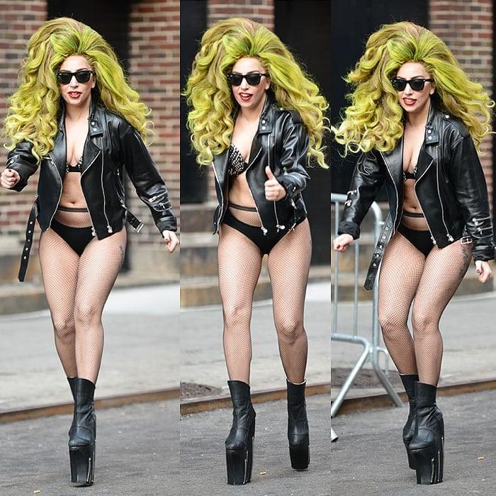 Lady Gaga running platform boots