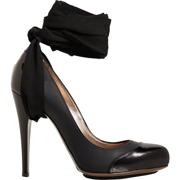 Lanvin Cap-Toe Ankle-Strap Pumps in Black
