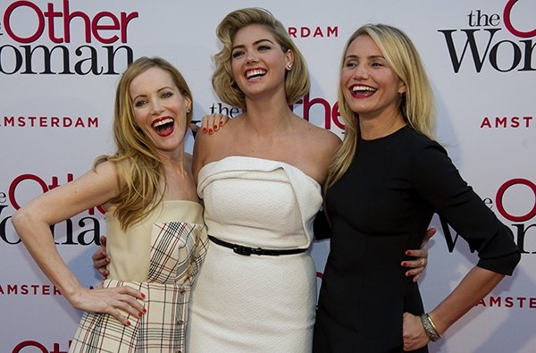 Leslie Mann, Kate Upton, and Cameron Diaz at the Amsterdam premiere of The Other Woman
