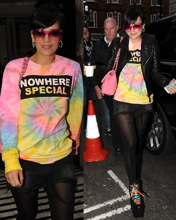 Lily Allen revisited the '90s in a colorful ensemble