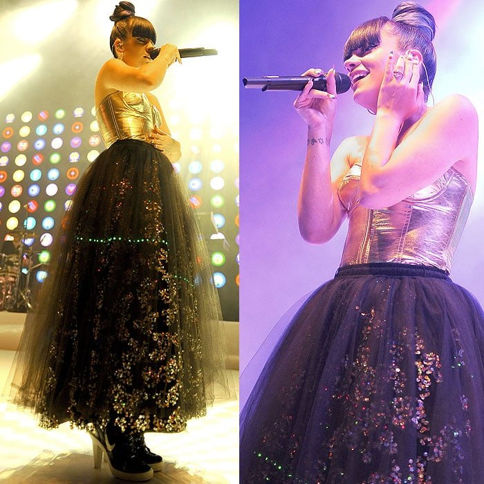 Lily Allen's costume change: a strapless gold corset, a sequined tulle ball skirt, and Nike high-heel sneakers