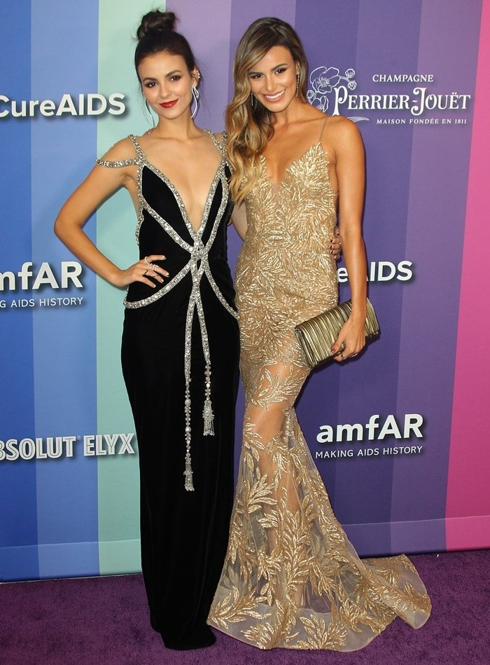 Victoria Justice and her younger half-sister Madison Grace attend the 2019 amfAR Gala Los Angeles