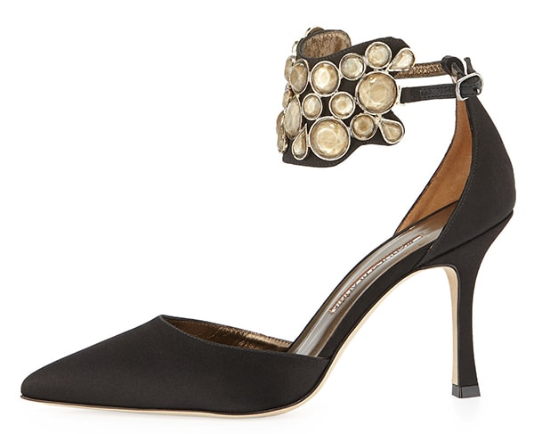 Manolo Blahnik Amatis Embellished Ankle-Wrap Pumps1