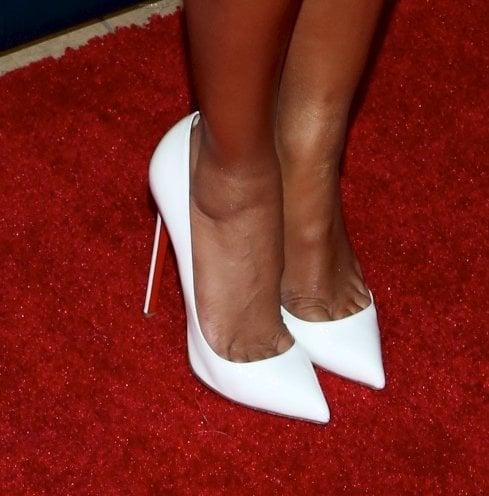 Mel B wearing white Christian Louboutin 'So Kate' pumps