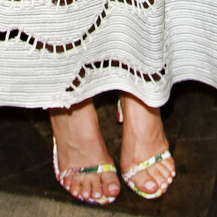 Mena Suvari wearing Dolce & Gabbana floral two-strap sandals