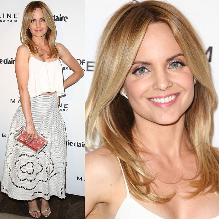 Mena Suvari knocked one of the cover stars off our list in her unbelievably fresh Sachin + Babi flutter crop tank and flower lattice maxi skirt ensemble