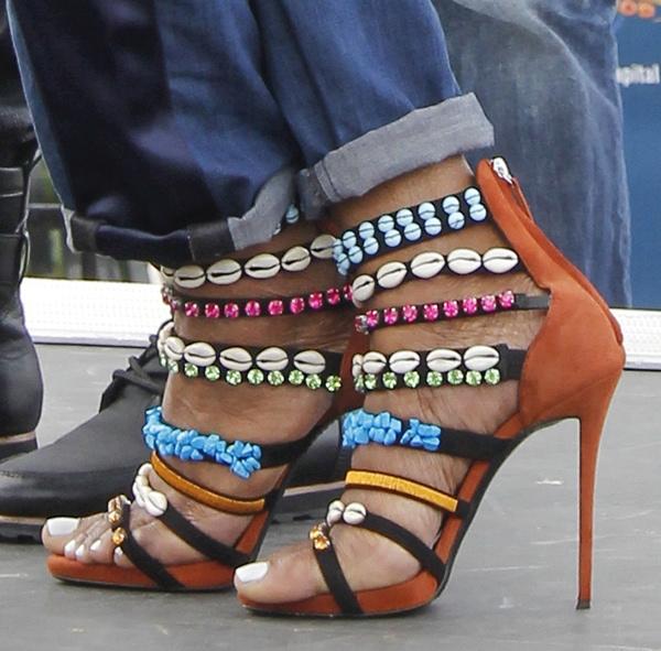 Nene Leakes wearing Giuseppe Zanotti strappy embellished sandals