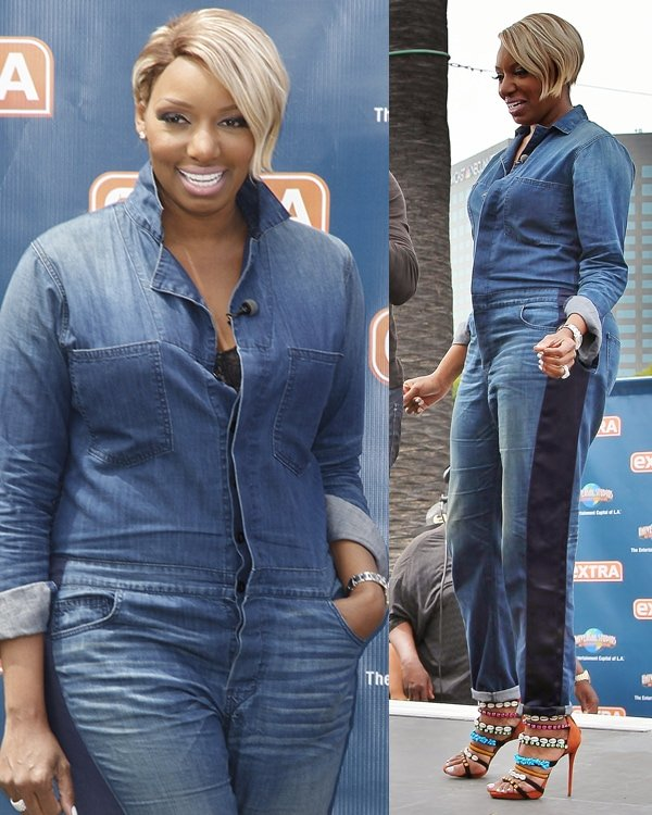 Nene Leakes wearing a denim jumpsuit and strappy embellished sandals