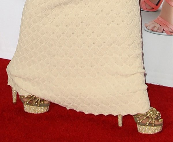 Nicki Minaj wearing Charlotte Olympia tangled rope platform sandals