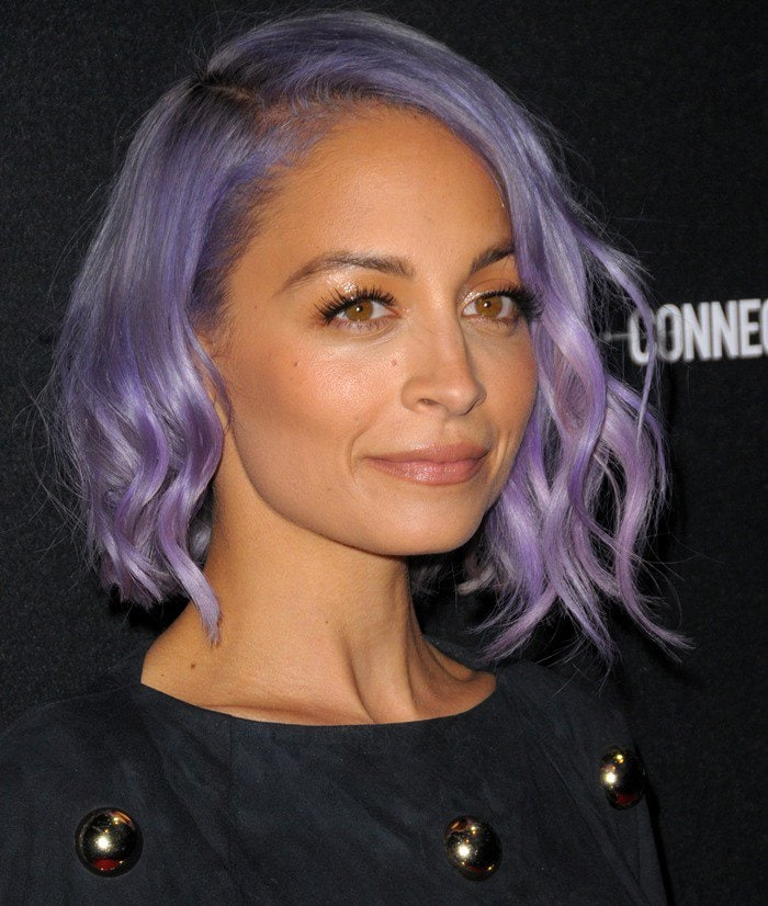 Nicole Richie showing off her purple hair