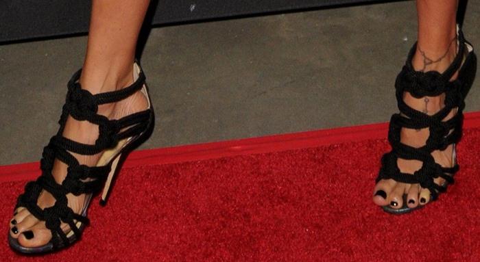 Nicole Richie's feet in Jimmy Choo 'Kalmar' rope sandals