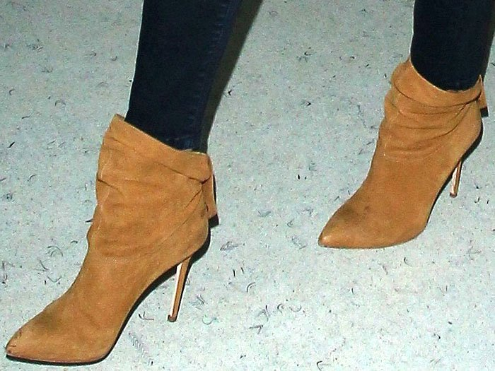 Rosie Huntington-Whiteley tan slouchy booties