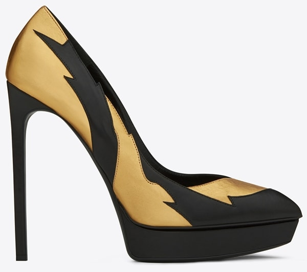 Saint Laurent 'Janis' Escarpin Applique Pumps in Black Leather and Gold Metallic Leather