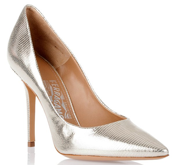 Salvatore Ferragamo Susi Metallic Pumps