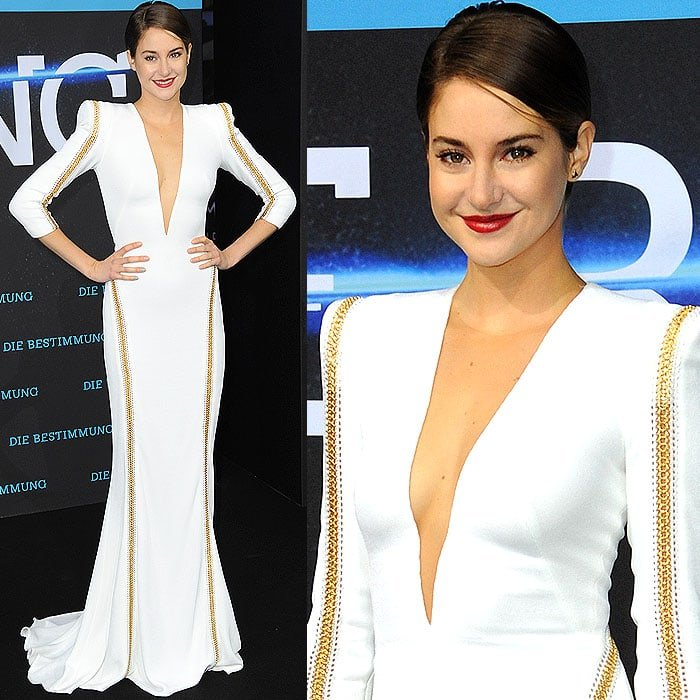 Shailene Woodley's white dress with gold chain embellishments