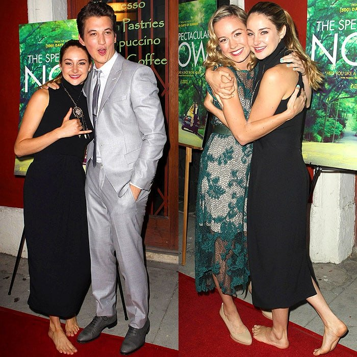 Shailene Woodley, Miles Teller, and Brie Larson at the premiere of 'The Spectacular Now' at the Vista Theatre in Los Angeles, California, on July 30, 2013