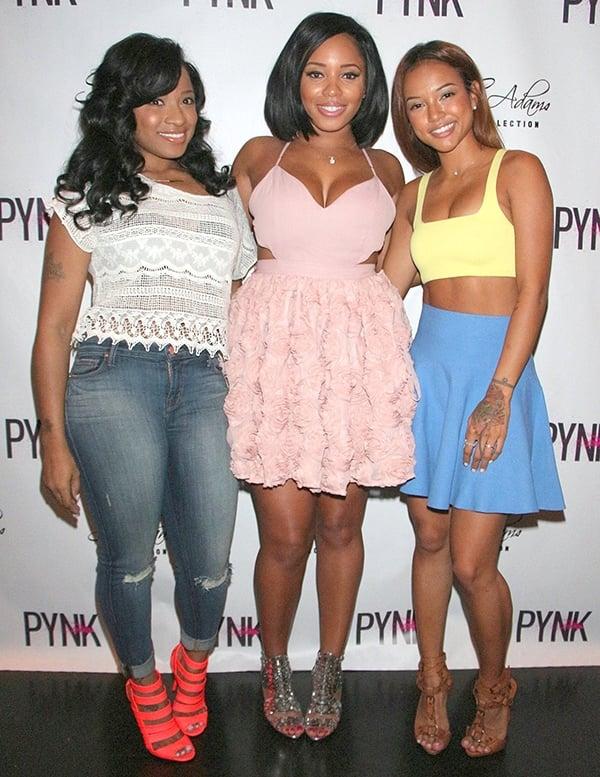 Toya Wright, Sheneka Adams, and Karrueche Tran at the launch ofSheneka's hair extension line