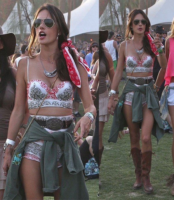 Alessandra Ambrosio's look is composed of a bohemian-printed bustier and matching high-waisted shorts