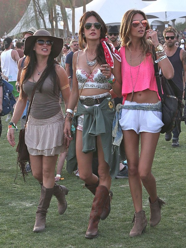 Alessandra Ambrosio is spotted with friends on the 2nd day of Coachella in Los Angeles on April 13, 2014