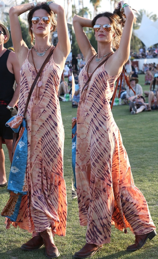 "Alessandra Ambrosio in a ""Caravan"" maxi dress from ále by Alessandra"