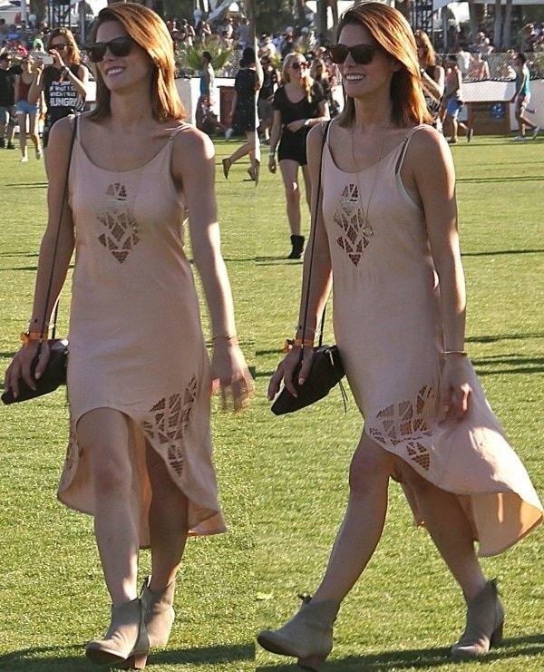 Ashley Greene in a blush-colored tank dress from Free People