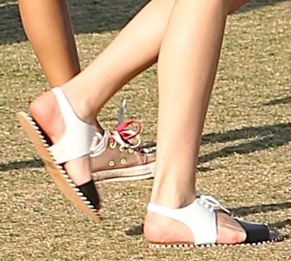Bella Thorne rocking monochromatic lace-up sandals