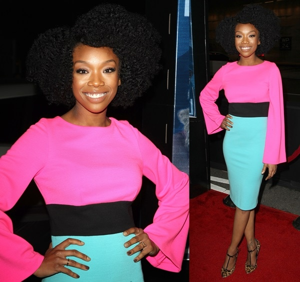 Brandy Norwood arrives at the Los Angeles premiere of 'A Haunted House 2' held at Regal Cinemas L.A. Live on April 16, 2014, in Los Angeles, California