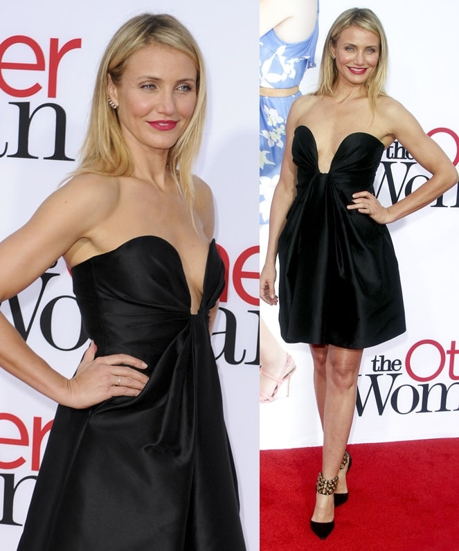 Cameron Diaz sporting a little black dress and a pair of jeweled ankle-cuff pumps for the premiere of 'The Other Woman' in Los Angeles on April 21, 2014