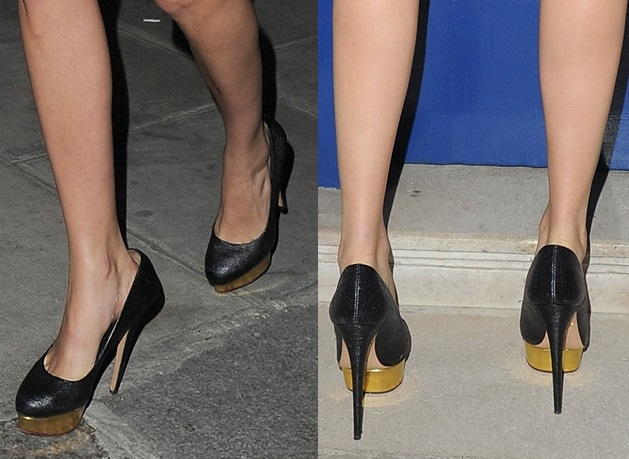 "Cara's textured pumps look like the ""Dolly"" from Charlotte Olympia"